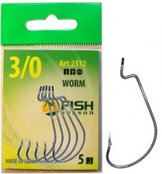 Крючок FISH SEASON Worm №6 BN 5шт офсет. 2312-06F