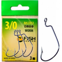 Крючок FISH SEASON Wide Range Worm №1/0 BN 5шт офсет. 2315-0051F